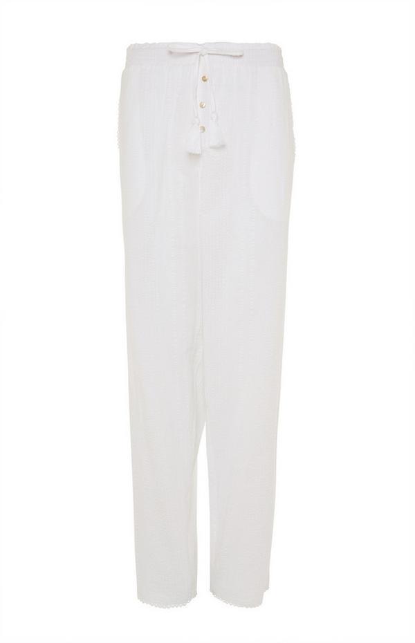 Weiße Seersucker-Pyjamaleggings
