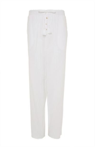 Leggings de pijama blancos en tejido mil rayas