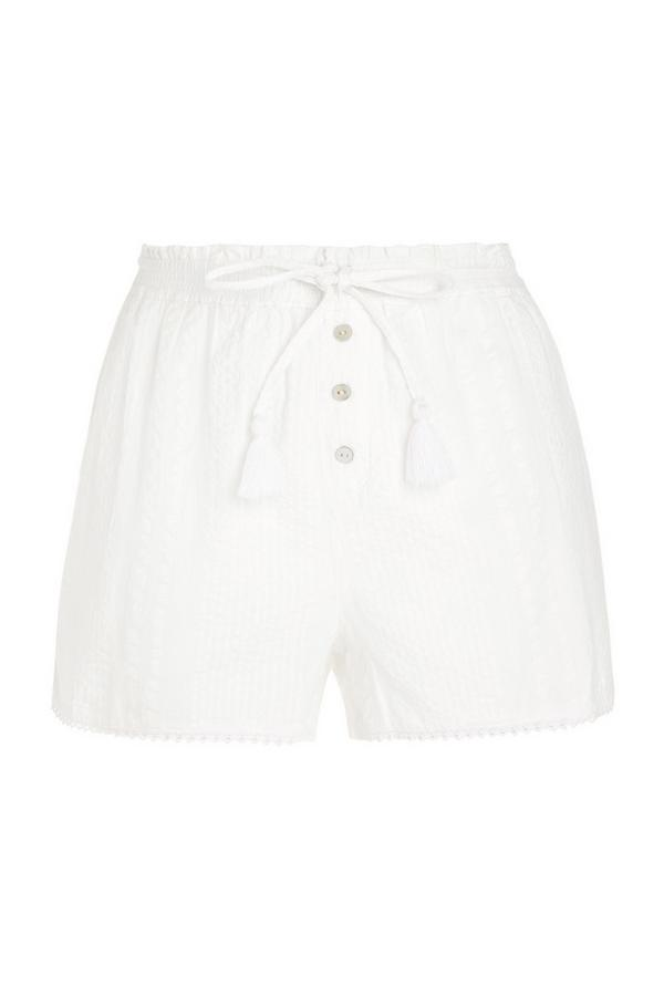 Weiße Seersucker-Shorts