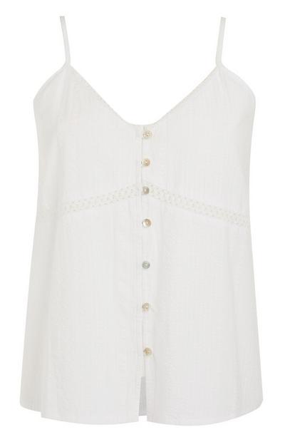 Bela majica s tankimi naramnicami iz krepa