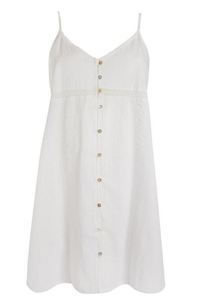 Witte nachtjapon met knoopjes in kringelstof