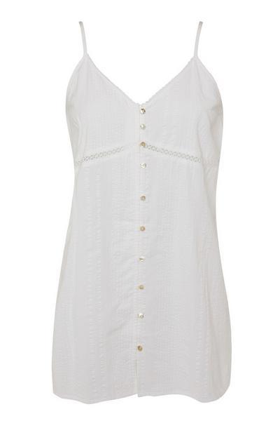 Camisón blanco en tejido mil rayas con botones