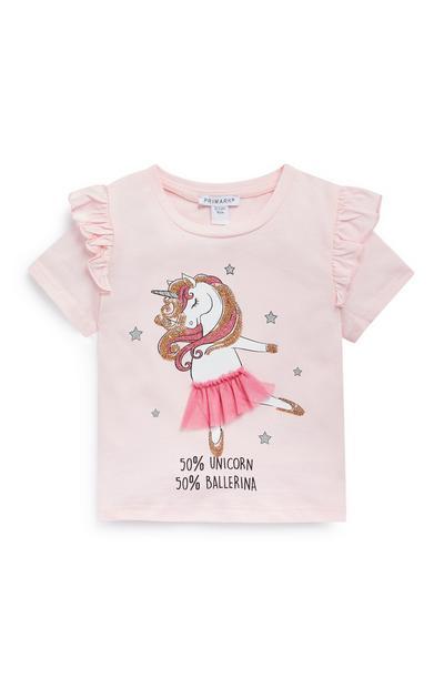 T-shirt rosa con unicorno da bambina