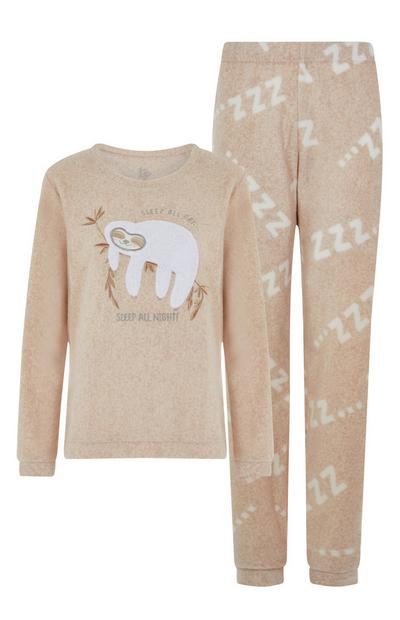 Beige Sloth Pyjama Set