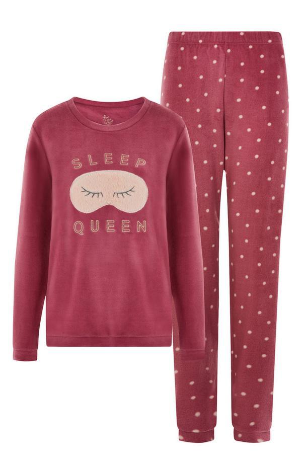 """""""Sleep Queen"""" Pyjama in Dunkelpink"""
