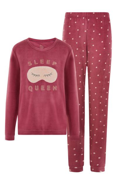 Conjunto de pijama «Sleep Queen» de color rosa oscuro
