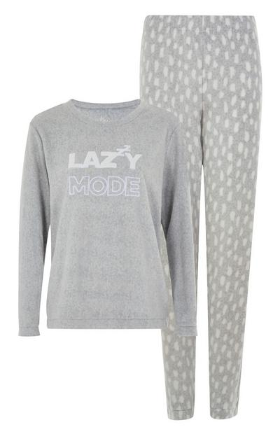 Conjunto de pijama «Lazy Mode» de color gris