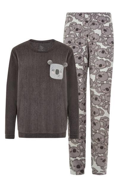 Pijama urso coala cinzento