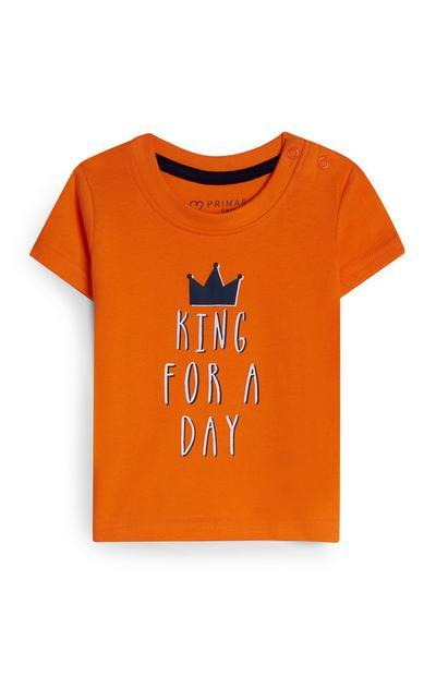 Oranje baby-T-shirt met tekst, jongens