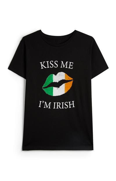 Black St. Patrick's Day Kiss Me Slogan T-Shirt