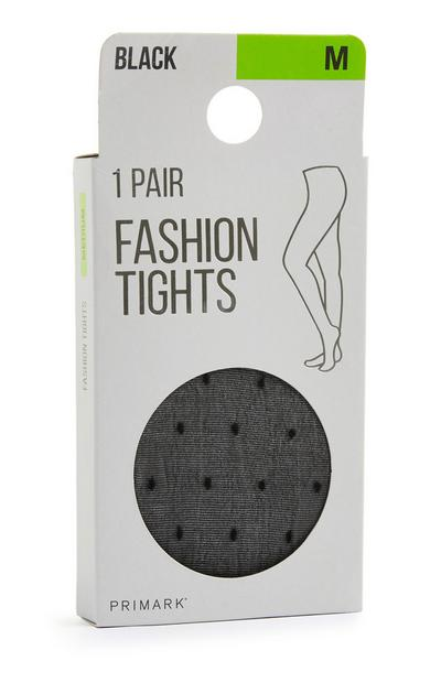 Collants noirs à pois
