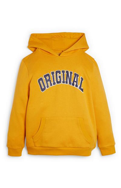 Older Boy Yellow Hoodie