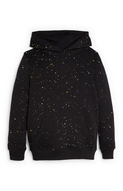 Older Boy Black Paint Splatter Hoodie