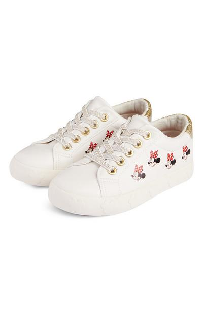Younger Girl White Minnie Mouse Embossed Trainers