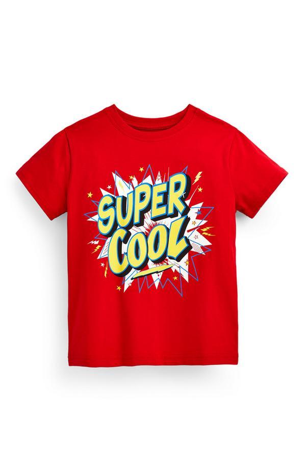 Rotes T-Shirt mit Slogan (kleine Jungen)
