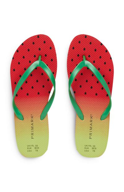 Rode teenslippers met watermeloenprint
