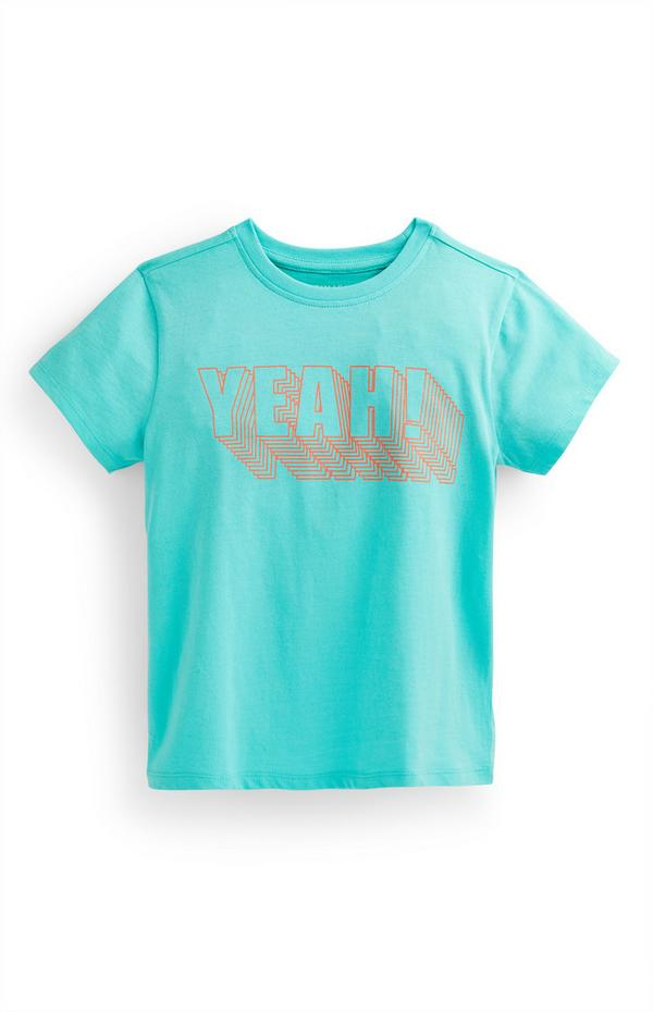 Younger Boy Turquoise Slogan Print T-Shirt
