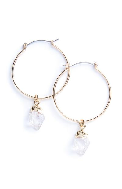 Clear Stone Hoop Earrings