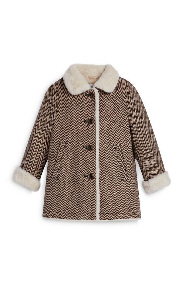 Tweed-Mantel mit Kunstfell (kleine Mädchen)