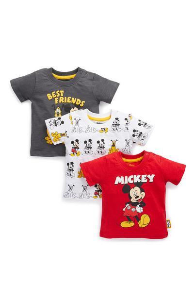 Komplet 3 fantovskih majic Mickey Mouse in Pluton za dojenčke