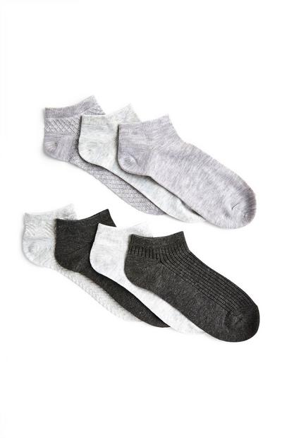 Mixed Grey Trainer Socks 7 Pack