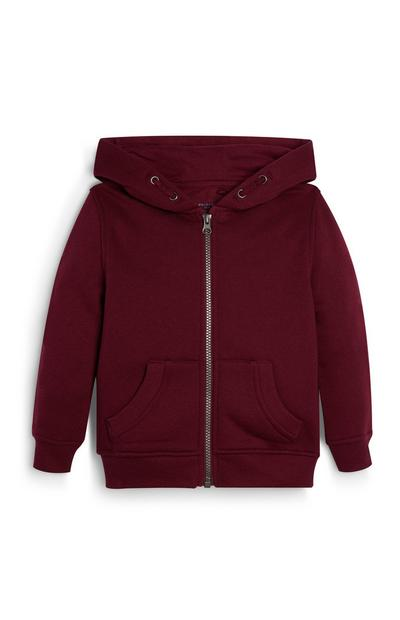 Younger Boy Burgundy Zip Up Hoodie