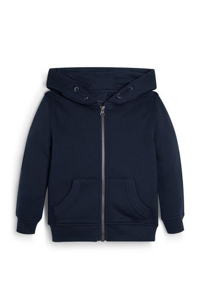 Younger Boy Black Zip Up Hoodie
