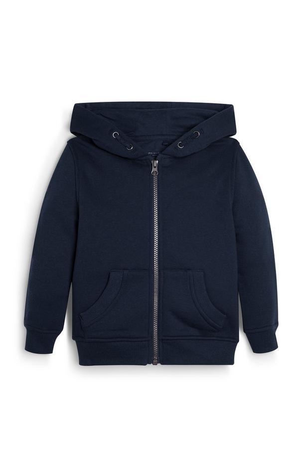 Črn pulover s kapuco in zadrgo za mlajše fante