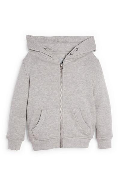 Veste grise zippée à capuche garçon