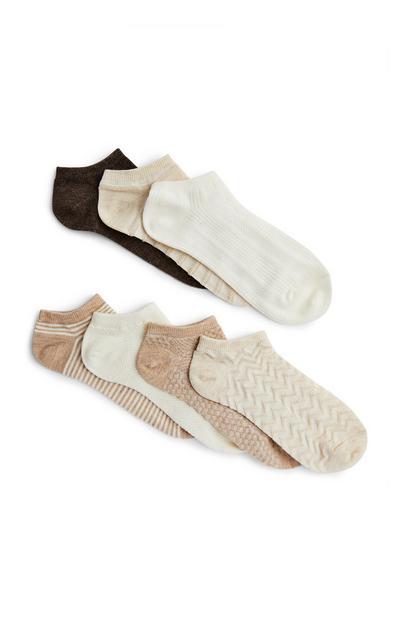 Mixed Oatmeal Trainer Socks 7 Pack