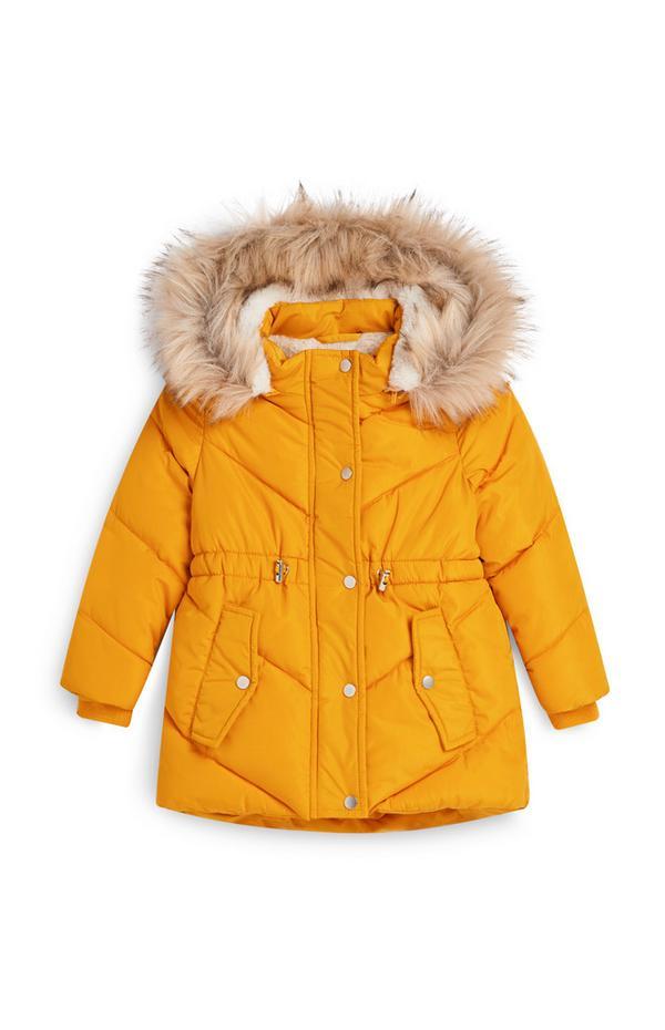 Gele gewatteerde jas, meisjes