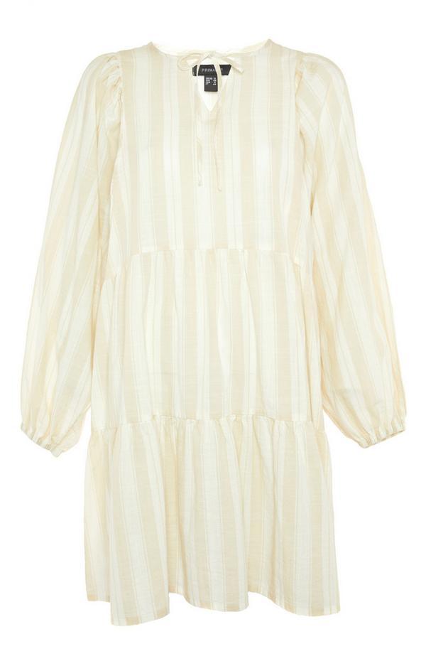 Ecru Striped Balloon Sleeve Smock Mini Dress