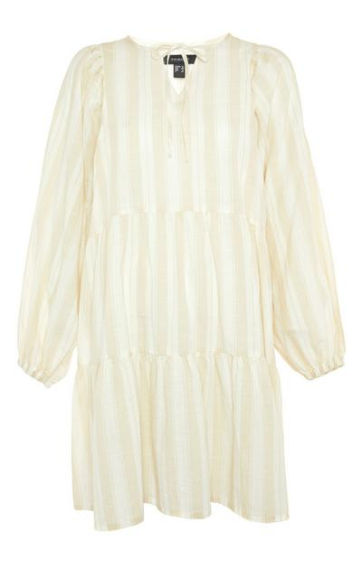 Ecru Striped Balloon Sleeve Smock Mini Dress