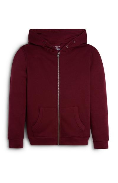 Sweat à capuche bordeaux zippé ado