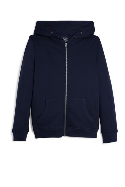 Older Boy Navy Zip Up Hoodie