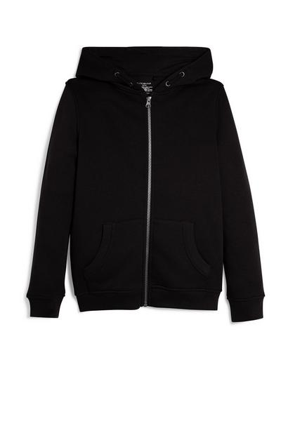 Older Boy Black Zip Up Hoodie