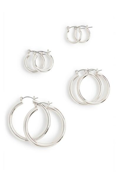 Mix Size Silvertone Midi Hoop Earrings 4 Pack
