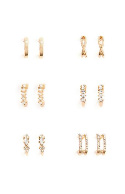 6-Pack Mixed Gold Half Hoop Earrings