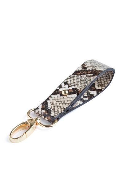 Accessoire porte-clés marron à imprimé crocodile pour sac à main