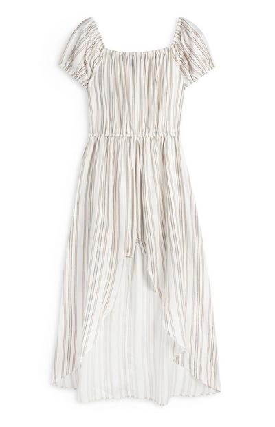 White Striped Pleated Bardot Midi Dress