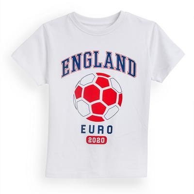Younger Boy White England Euros Football T-Shirt