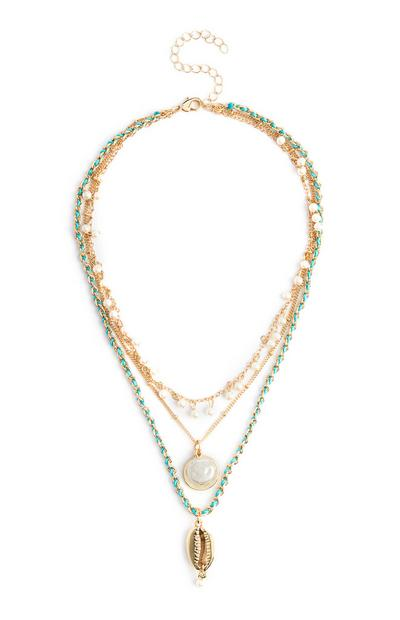 Gold And Green Multi Row Pearl Necklace