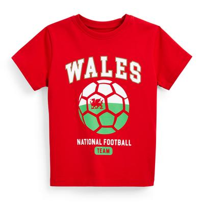 Younger Boy Red Wales Euros Football T-Shirt