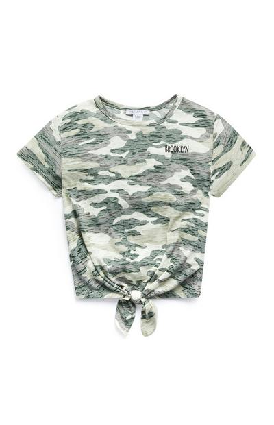 Older Girls Camo Front Tie T-Shirt