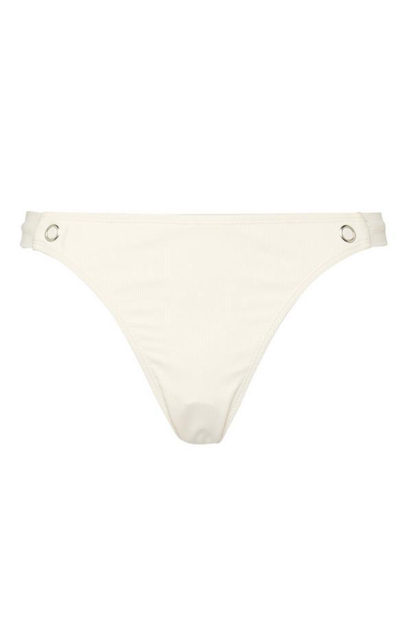 Elfenbeinfarbene Bikinihose mit Druckknöpfen