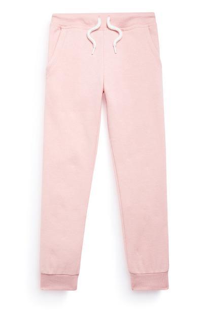Calças treino menina cor-de-rosa