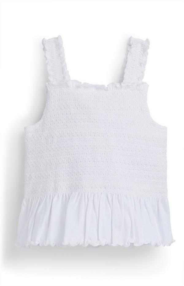 Younger Girl White Shirred Peplum Vest