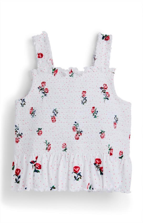 Younger Girl White Floral Print Shirred Peplum Vest