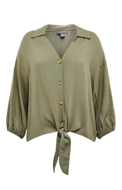 Khaki Button Detail Tie Front Blouse