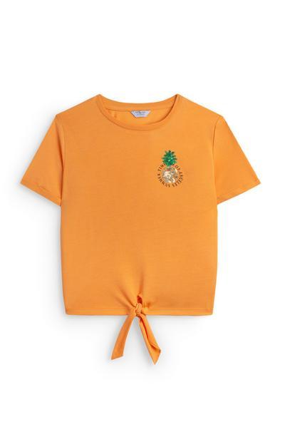 Oranje T-shirt met ananasbadge voor meiden